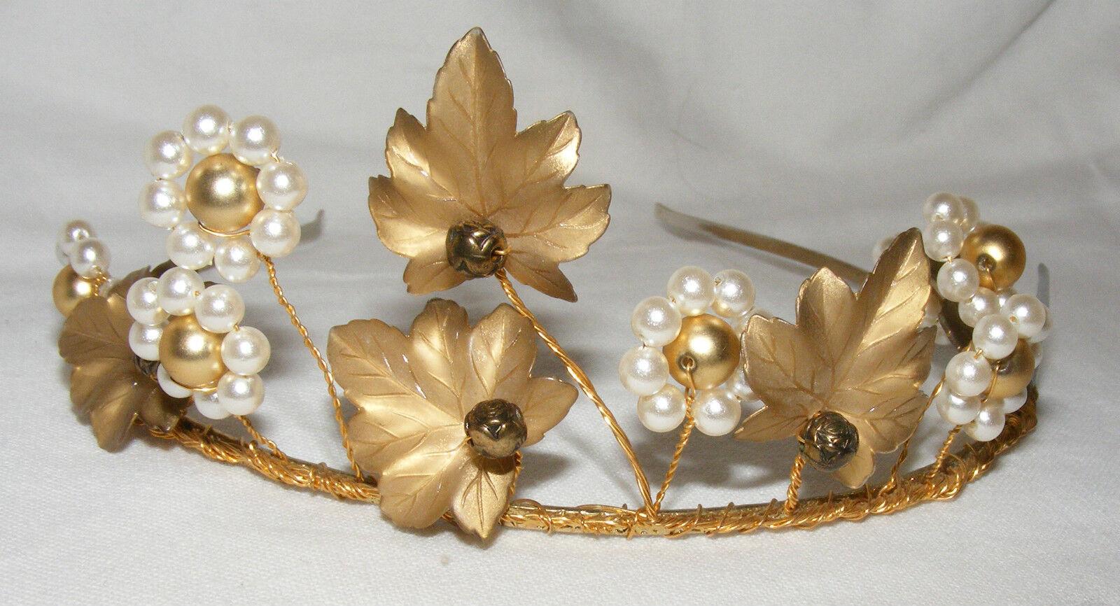 Gorgeous Rhapsody Bride Bridesmaid Tiara Headband Bronze Leaf and Pearls