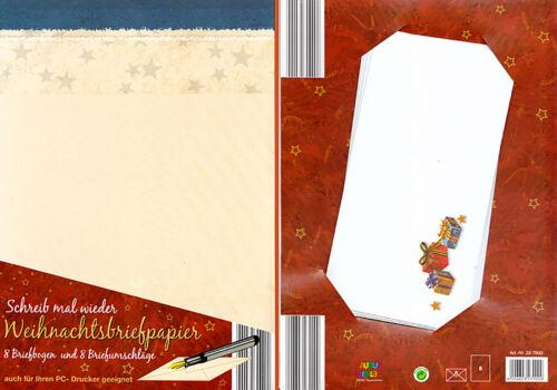 2x Briefpapier-Set Weihnachen 8 Briefbögen A4 & 8 Umschläge bedruckbar 22-7900-3