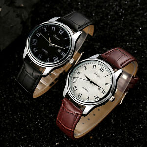 Fashion-Men-Sports-Date-Analog-Quartz-Black-Leather-Stainless-Steel-Wrist-Watch