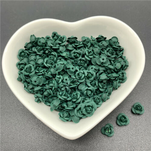 30pcs//Lot 7mm Jewelry Findings Aluminium Beads Cap Charms Rose Flower Shape Pend
