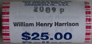 2009-P-William-Henery-Harison-Hors-Circulation-Un-Dollar-25-Dore-Monnaie-Rouleau