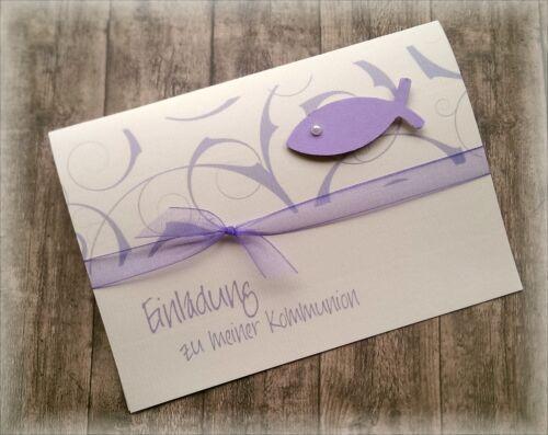 Einladung Einladungskarte Kommunion Konfirmation Taufe Fisch flieder