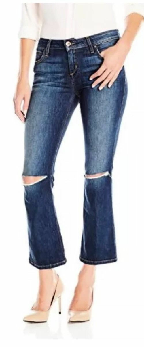 189 Joes Eco Friendly Olivia Mid Rised Cropped Distressed Flare Jeans Size 26