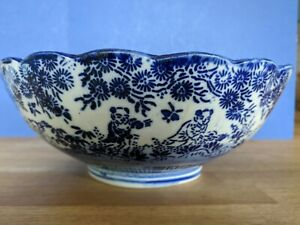 Antique-Meiji-Japanese-Arita-Karako-Blue-and-White-Bowl