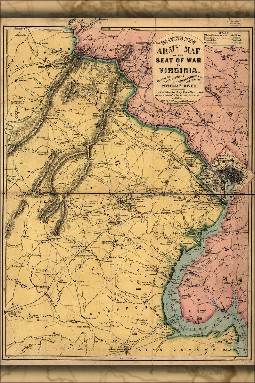 Plakat, Viele Größen; Bürgerkrieg Karte von der Sitz Of War in Virginia 1862