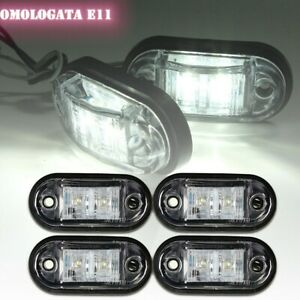 4x-Feux-Lateral-Position-Gabarit-Indicateur-2-LED-Blanc-12V-24V-Camion-Remorque