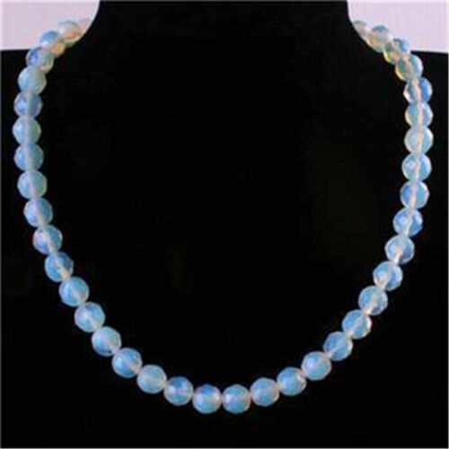8//10mm Sri Lanka Moonstone Faceted Round Beads Necklace 18/'/' AAA+++