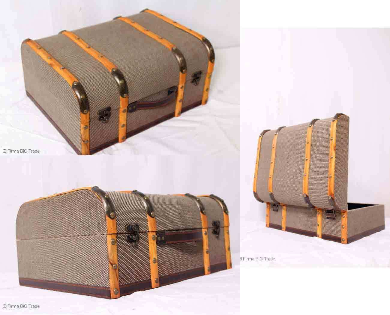Retro  Oldtimerkoffer Koffer Halbrund Holzleisten Koffer 2 Größen  L  Nice Jute