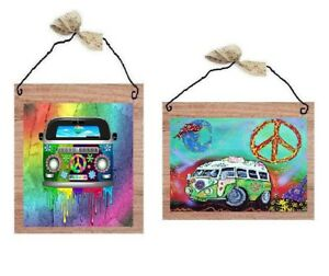 Hippie-Van-Pictures-VW-Rainbow-Colored-60s-Hippy-Peace-Wall-Hangings-Plaques