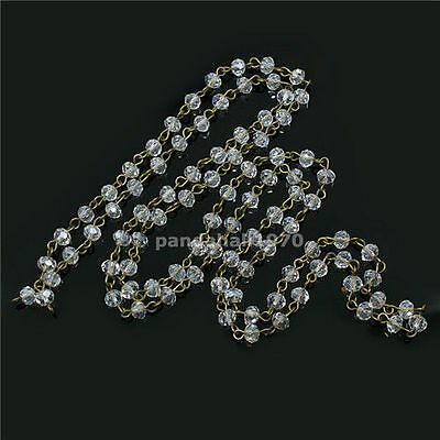 5pc Handmade Glass Pearl Beads Chains with Platinum Color Iron Eyepins 1m//pc