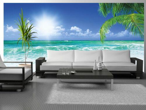 Fototapete Vlies selbstklebend oder normal Sonnenschein Palmen Meer Karibik