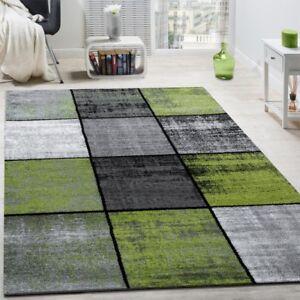 designer teppich modern kurzflor karos speziell meliert grau schwarz gr n ebay. Black Bedroom Furniture Sets. Home Design Ideas