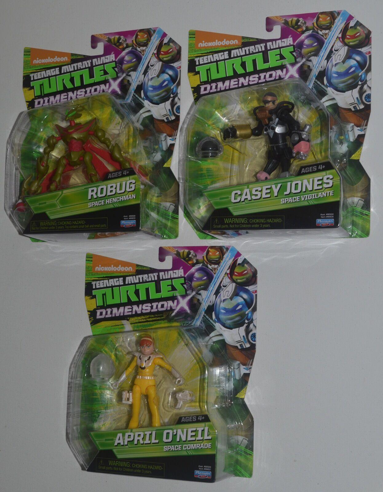 x robug, casey jones & april o 'neil tmnt ninja turtles.