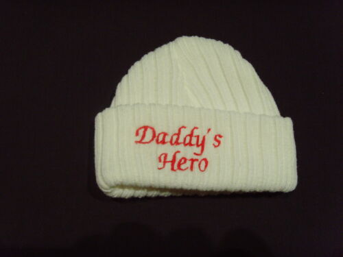 Baby Knitted Wool Embroidered Personalised Hat With Saying Daddy/'s Hero
