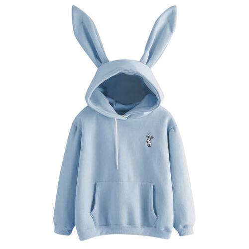 Womens Casual Cute Long Sleeve Rabbit Hoodie Sweatshirt Pullover Tops Blouse