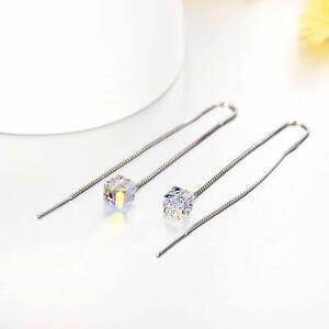 Silver-Earrings-w-Swarovski-Crystal-AB-Drop-Aurora-Borealis