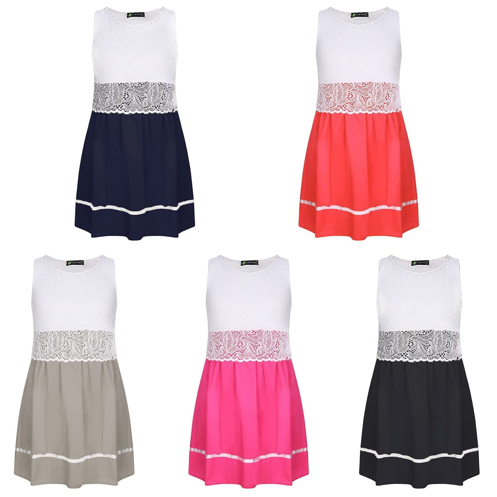 Girls Dress Party Casual Sleeveless Lace Top Ribbon Skirt Detail Size 3-14 Years