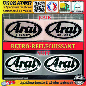 2-Stickers-autocollant-Arai-Helmet-retro-reflechissant-casque-moto-motorcycle