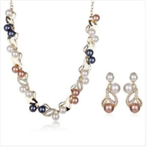 18-K-YELLOW-GOLD-MULTI-COLURED-PEARL-SET-NECKLACE-EARRINGS-GENUINE-CHRISTMAS