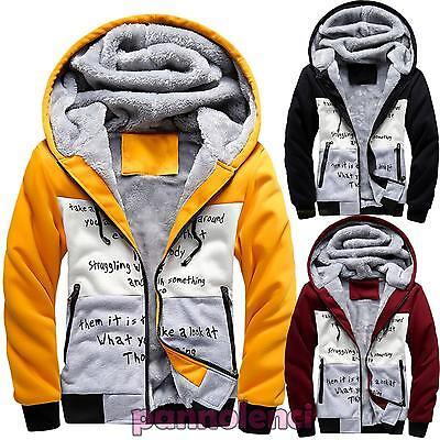 Felpa uomo cappuccio eco pelliccia zip giacchetto invernale caldo nuovo DL-1595