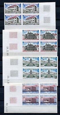 100% True St Pierre & Miquelon Spm 1969 Architektur Blocks/4 437-440 U Imperf Nd Kw €360 Sturdy Construction Europe