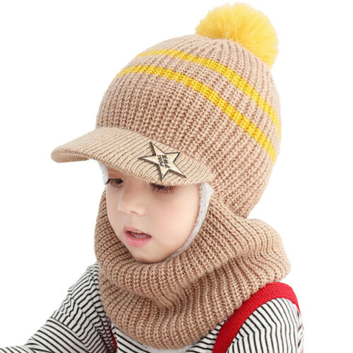 Toddler Kid Boy Girl Winter Outdoor Warm Knit Beanie Hat Earflap Scarf Cap Gift