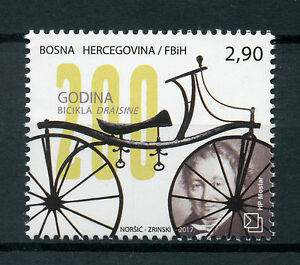 Bosnia-amp-Herzegovina-2017-MNH-Draisine-Bicycle-200th-Ann-1v-Set-Bicycles-Stamps