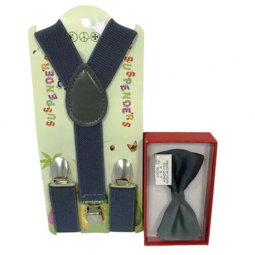 Bow Tie Matching Set Wedding Toddler Kids Boys Girls Baby Dark Grey Suspender