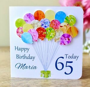 Image Is Loading Personalised 65th Birthday Card Handmade Age 65