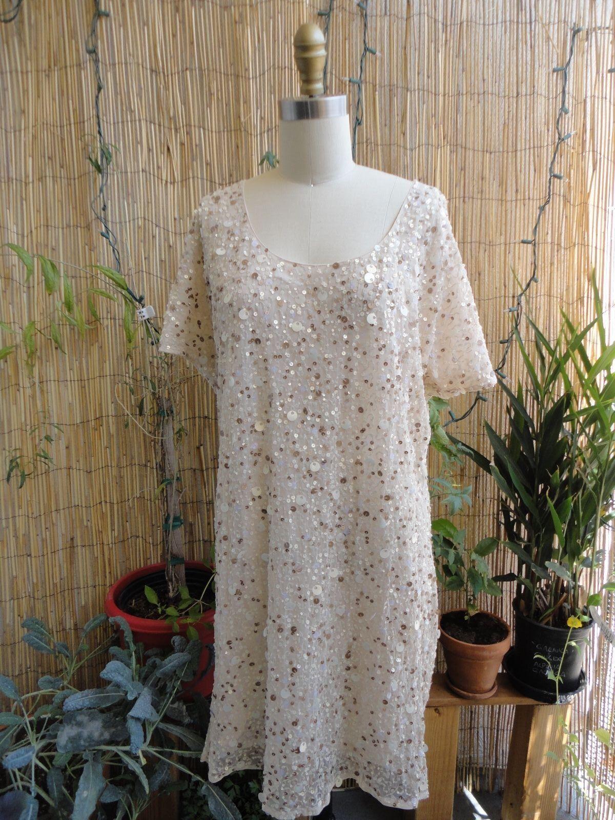 gold HAWK NWT Hand Sewn Sequin Paillettes Cold Shoulder Dress Camel Medium