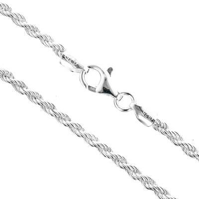 """16/"""" Sterling Silver Necklace Shiny Italian Rope Chain Pure 925 Italy Wholesale"""