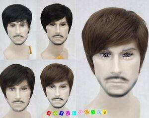 Fashion-Men-wig-Short-Menfolk-Male-Natural-Hair-cosplay-Wig-Brown-Black