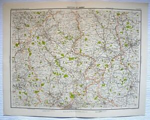 DERBY-Map-plate-C1900-Bartholomew-Royal-Atlas-Of-England-Wales-From-Atlas