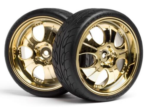 4 HPI Mounted Super Low Tread Tires Gold Chrome 4723