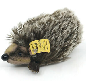 Steiff-Joggi-Hedgehog-Spiky-Mohair-Plush-10cm-4in-ID-Button-Tag-1966-67-Vintage