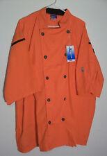 New Kng Lightweight Short Sleeve Chef Coat Orange 3xl