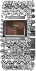 Excellanc-Damenuhr-Lila-Silber-Strass-Analog-Metall-Armbanduhr-X152023800042