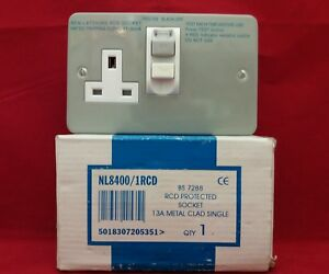 Newlec NL8400//2RCD 13 A 2 Gang Metal Clad RCD Socket 2 G MC TSSO livraison gratuite
