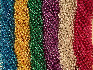 100-Asst-6-color-Mardi-Gras-Gra-Beads-Necklaces-Party-Favors-Huge-Lot