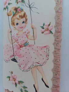 UNUSED-Vtg-GIRL-on-Swing-PINK-DRESS-Embossed-BIRTHDAY-GREETING-CARD-w-Envelope