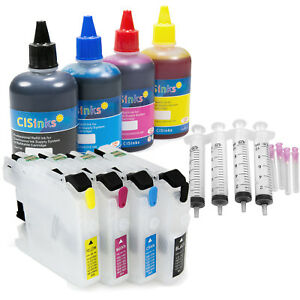 Empty-Refillable-Cartridge-w-Ink-Set-for-Brother-LC203-MFC-J480DW-J485DW-J680DW