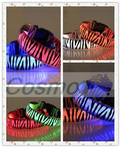 LED-Collar-Dog-Zebra-Puppy-Pet-Tag-Flashing-Light-Safety-Nylon-leash-harness-HOT