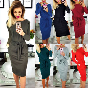 UK-Womens-Long-Sleeve-Party-Ladies-Ties-Wrap-Sundress-Pastel-Midi-Dress-Bodycon