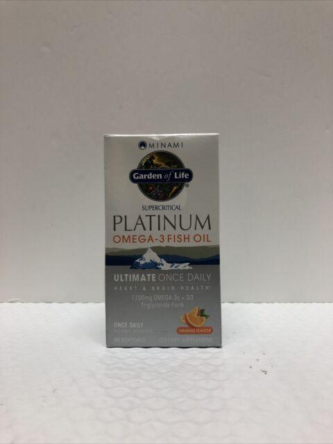 Garden Of Life Platinum Omega-3 Fish Oil - 60 Orange SoftGels Exp: 08/2023