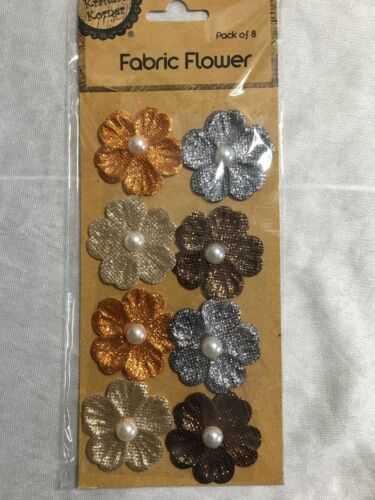 8 X Glitter Fabric Flowers Gold Silver Pink Blue Green Yellow Stickers New
