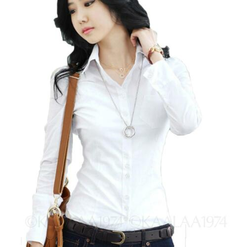 Long Sleeve Fitted Shirt Career Collared Office Womens Blouse ...
