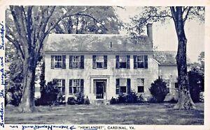 CARDINAL-MATHEWS-COUNTY-VIRGINIA-HEMLANDET-RICHARDSON-039-S-REXALL-1940s-POSTCARD