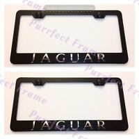 2x Jaguar 3d Emblem Black Stainless Steel License Plate Frame Rust Free W/ Caps