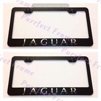 2x Jaguar 3d Emblem Black Stainless Steel License Plate Frame Rust Free W/ Caps