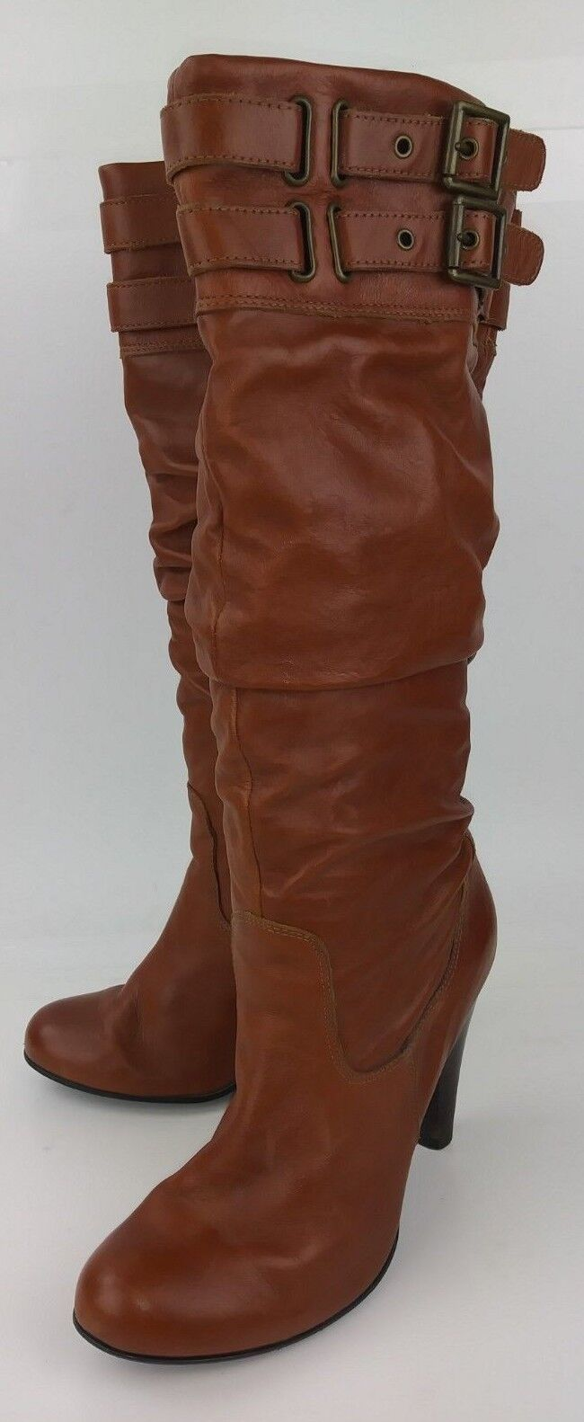 Aldo Wos Boots Tall EU 39 Brown Leather Slouchy Casual Heels 1411